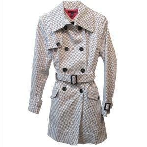 Tommy Hilfiger White Polka Dot Trench Coat